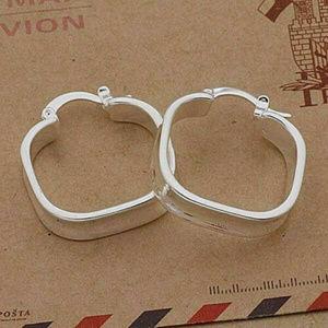Square Hoop Quartet Earrings 925 Sterling Silver